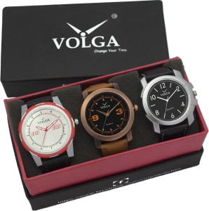 Volga VLW05-21-35-42 Mens Leather Belt Combo With Designer Stylish Branded Trendy box Analog Watch  - For Men