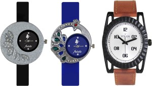 Volga Designer FVOLGA Beautiful New Branded Type Watches Men and Women Combo77 VOLGA Band Analog Watch  - For Couple