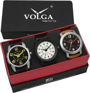 Volga VLW05-16-25-28 Mens Leather Belt Combo With Designer Stylish Branded Trendy box Analog Watch  - For Men