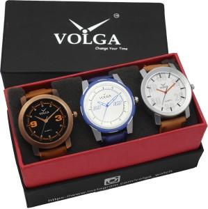 Volga VLW05-21-27-41 Mens Leather Belt Combo With Designer Stylish Branded Trendy box Analog Watch  - For Men