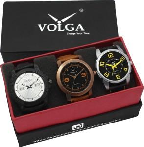 Volga VLW05-21-25-38 Mens Leather Belt Combo With Designer Stylish Branded Trendy box Analog Watch  - For Men