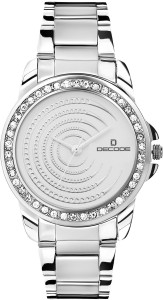 Decode Ladies Crystal Studded Ring 2112 white Analog Watch  - For Women