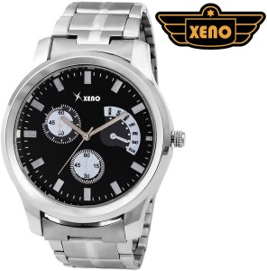 Xeno BN_C2D3_OLD Date Day Chronograph Pattern Silver Metal Black Dial New Look Fashion Stylish Modish Analog Watch  - For Boys