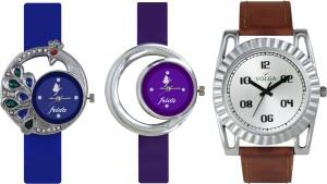 Volga Designer FVOLGA Beautiful New Branded Type Watches Men and Women Combo124 VOLGA Band Analog Watch  - For Couple