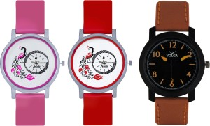 Frida Designer VOLGA Beautiful New Branded Type Watches Men and Women Combo605 VOLGA Band Analog Watch  - For Couple