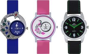 Frida Designer VOLGA Beautiful New Branded Type Watches Men and Women Combo427 VOLGA Band Analog Watch  - For Couple