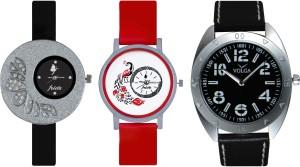 Frida Designer VOLGA Beautiful New Branded Type Watches Men and Women Combo358 VOLGA Band Analog Watch  - For Couple