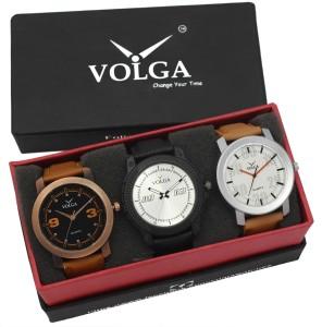 Volga VLW05-21-27-38 Mens Leather Belt Combo With Designer Stylish Branded Trendy box Analog Watch  - For Men