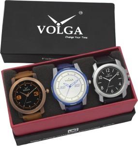 Volga VLW05-21-35-41 Mens Leather Belt Combo With Designer Stylish Branded Trendy box Analog Watch  - For Men