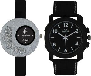 Frida Designer VOLGA Beautiful New Branded Type Watches Men and Women Combo8 VOLGA Band Analog Watch  - For Couple