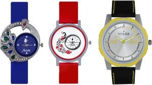 Volga Designer FVOLGA Beautiful New Branded Type Watches Men and Women Combo139 VOLGA Band Analog Watch  - For Couple