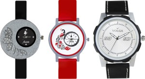 Volga Designer FVOLGA Beautiful New Branded Type Watches Men and Women Combo104 VOLGA Band Analog Watch  - For Couple