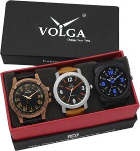 Volga VLW05-23-28-32 Mens Leather Belt Combo With Designer Stylish Branded Analog Watch  - For Men