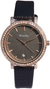Aelo Trend Arrest- Black Leather Strap Analog Watch  - For Women