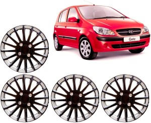 Auto Pearl Premium Quality Car Full Caps Black and Silver 13 Inches For - Hyundai Getz