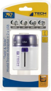 Travel Blue Twist & Slide with Dual USB Charger Worldwide Adaptor
