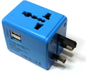 LEOTECH UNIVERSAL TRAVEL ADAPTOR USB BLUE Worldwide Adaptor