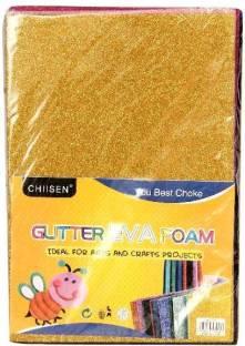 Homeshopeez Art Craft Glitter Foam Sheet A4 Size Pack Of 10