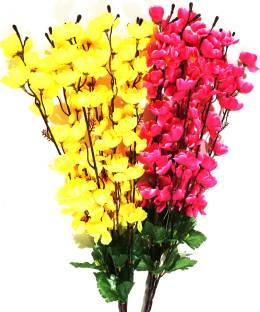 Artificial flowers buy artificial flowers online at best prices in britenova yellow pink orchids artificial flower mightylinksfo Gallery