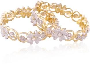 I Jewels Brass 24K Rose Gold Bangle Set