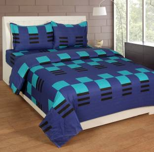 Zesture Cotton Checkered Double Bedsheet