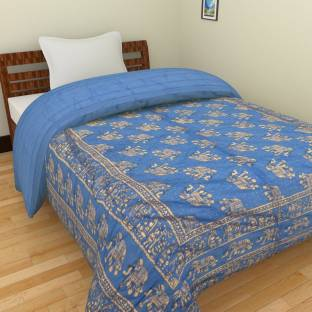 Spangle Printed Single Quilts & Comforters Blue