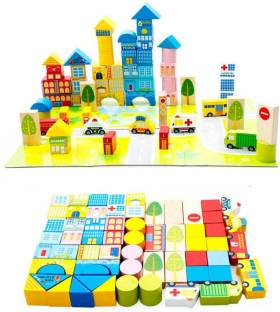 Pigloo Wooden Building Blocks For Kids Ages 3 Years 48 Piece Set