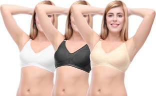 Selfcare Set Of 3 Seamless Cup Women's Full Coverage Beige, Black, White Bra