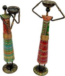 Sancheti Art Pair of 13 Inches Tall Masai Cast Iron 2 - Cup Tealight Holder Set