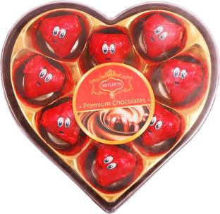 Skylofts 9pc Romantic Heart shaped Box with nicely wrapped eyes Chocolate Bars