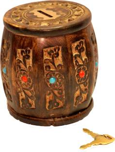 Craft Art India Sheesham Wood Barrel Shaped Small Money Bank Coin