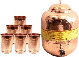 Indian art villa 1 Copper Water Pot 11.5 Liter with 6 Copper Glass - 13300 ml Copper Multi-purpose Storage Container