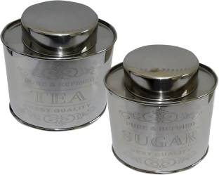 Dynore Oval Crome  - 1 L Steel Tea Coffee & Sugar Container