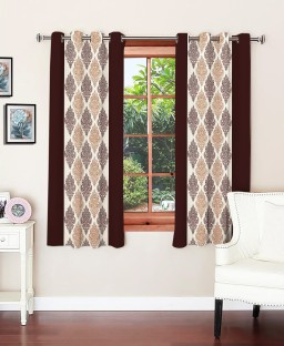 optimistic home furnishing polyester brown motif eyelet window curtain