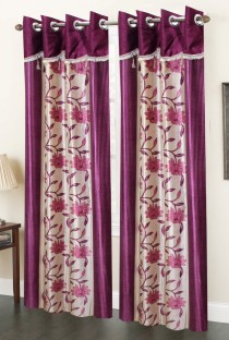 homefab india polyester lavender floral eyelet door curtain