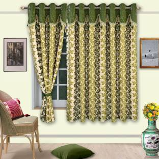 Cortina Polyester Green Floral Eyelet Window Curtain