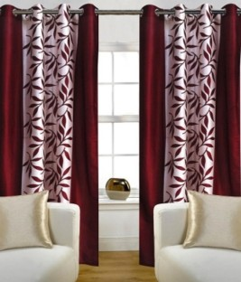 Red Hot Polyester Maroon Floral Eyelet Window U0026 Door Curtain Part 63