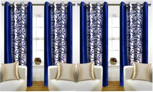 red hot polyester blue floral eyelet window curtain