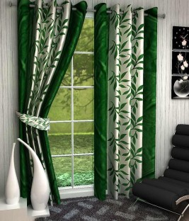 optimistic home furnishing polyester green floral eyelet door curtain
