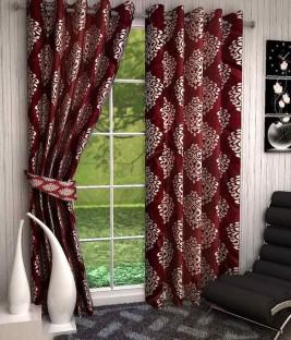 zesture polyester maroon damask eyelet door curtain