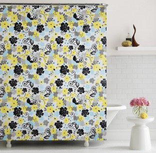 Home Candy PVC Multicolor Floral Shower Curtain