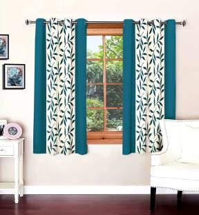 Optimistic Home Furnishing Polyester Blue Floral Eyelet Window Curtain
