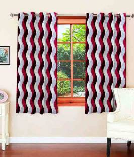 Zesture Polyester Multicolor Abstract Eyelet Window Curtain