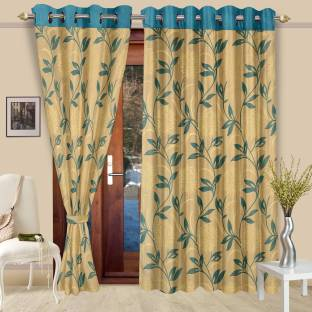 Cortina Polyester Blue Floral Eyelet Door Curtain