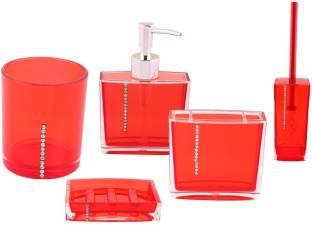 Premsons Diamond Bathroom Set Red Color Plastic Bathroom Set