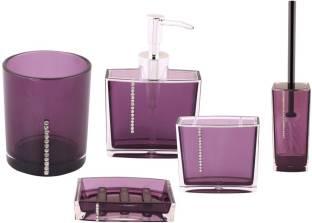 Premsons Diamond Bathroom Set Purple Color Plastic Bathroom Set