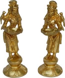 aakrati Decorativ Deep Lady Pair Of 2 Pieces Brass (Pack of 2) Table Diya Set