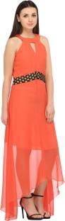 Cottinfab Women's A-line Orange Dress