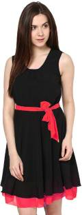 Indicot Women's A-line Red Dress