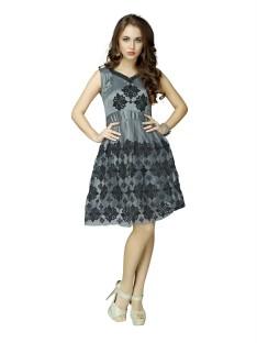 Grey Knee Length Dresses